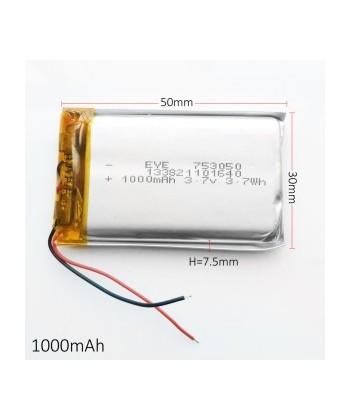753050 - Acumulator Li-Polymer - 3,7 V - 1000mah - 50x30x7.5 mm